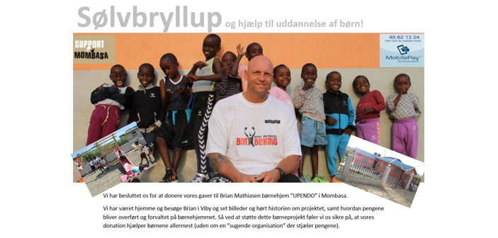 Sølvbryllupspar donerer penge til Upendo